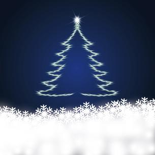 雪の結晶と輝くクリスマスツリーのイラスト素材 [FYI04928146]