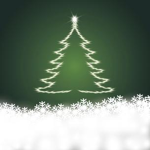 雪の結晶と輝くクリスマスツリーのイラスト素材 [FYI04928148]