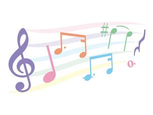 シンプルでかわいい音符のハーモニーのイラスト素材 [FYI04928579]