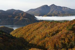 磐梯吾妻レークラインからの秋元湖と磐梯山の写真素材 [FYI04928603]