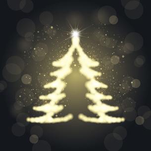 輝くクリスマスツリーのシルエットイラストのイラスト素材 [FYI04928606]