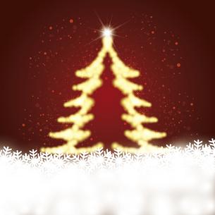雪の結晶と輝くクリスマスツリーのイラスト素材 [FYI04928645]
