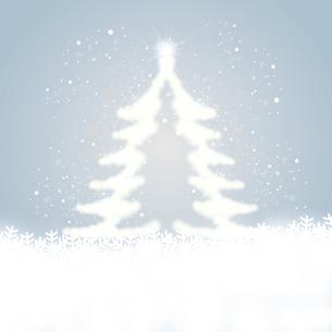 雪の結晶と輝くクリスマスツリーのイラスト素材 [FYI04928647]
