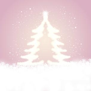 雪の結晶と輝くクリスマスツリーのイラスト素材 [FYI04928658]