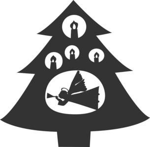 天使とキャンドルとクリスマスツリーのシルエット。のイラスト素材 [FYI04928675]