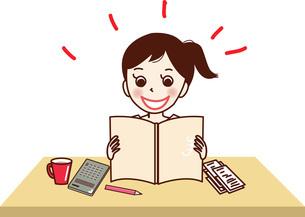家計簿をつけ、喜ぶ若い女性。のイラスト素材 [FYI04928676]