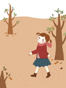 どんぐりが落ちている広場でお散歩している女の子。のイラスト素材 [FYI04928677]