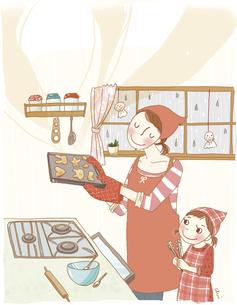 雨の日にお菓子作りをする親子。のイラスト素材 [FYI04928678]