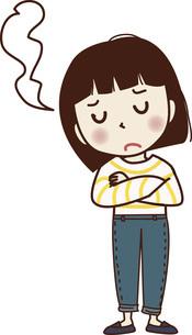 手を組んで悩む表情の若い女性。のイラスト素材 [FYI04928679]