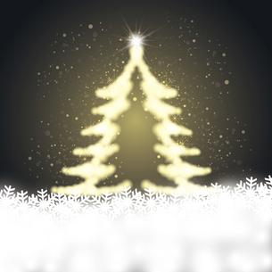雪の結晶と輝くクリスマスツリーのイラスト素材 [FYI04928688]