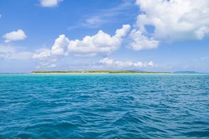 エメラルドグリーンの石西礁湖に浮かぶ嘉弥真島の写真素材 [FYI04928908]