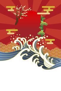 浮世絵風の年賀状のベクター素材 2022年 年賀状のイラスト素材 [FYI04929149]