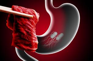 生肉と胃のウイルスのイラスト素材 [FYI04929307]