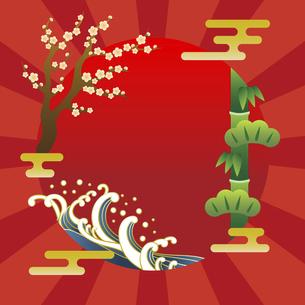浮世絵風の和風フレーム素材のイラスト素材 [FYI04929411]