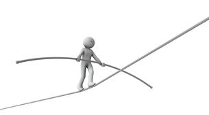 綱渡りのようなハイリスクな状態のキャラクターのイラスト素材 [FYI04929660]