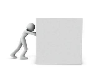 大きな箱を押して運ぶキャラクターのイラスト素材 [FYI04929664]