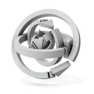 球体を取り囲む複数の矢印のイラスト素材 [FYI04929838]