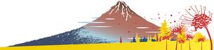 浮世絵の富士山と秋の曼珠沙華のイラスト素材 [FYI04929841]