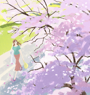 春、桜の花びらが舞い散る木の下を歩く女性のイラストのイラスト素材 [FYI04930153]