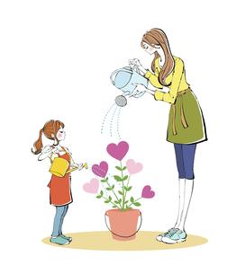 ジョウロで植木鉢の花に水やりをするママと女の子のイラスト素材 [FYI04930154]