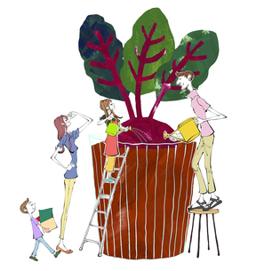 家庭菜園の大きなカブに水や肥料を与える家族のイラストのイラスト素材 [FYI04930156]