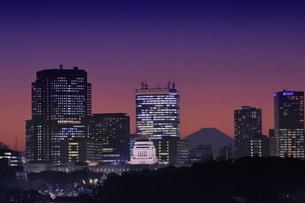 国会議事堂と富士山の夜景の写真素材 [FYI04930168]