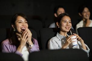 映画を観る女性の写真素材 [FYI04930382]