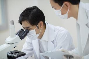 顕微鏡を覗く男性研究員の写真素材 [FYI04930401]