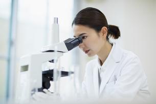 顕微鏡を覗く女性研究員の写真素材 [FYI04930403]