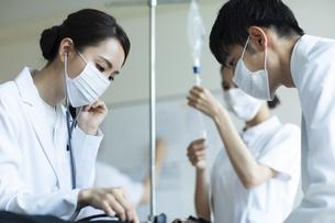 救急患者の診察を行う医師と看護師の写真素材 [FYI04930501]