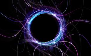 黒背景のサークルパーティクルのアブストラクトのバックグラウンドのイラスト素材 [FYI04930871]