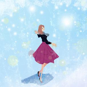舞う雪を両手で受け止めながら歩く女性のイラストのイラスト素材 [FYI04931927]