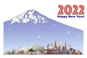 2022年 年賀状テンプレート、雪降る富士山と里村のイラスト素材 [FYI04932926]