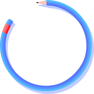 円で囲まれたテキストスペースのある鉛筆のフレームのイラスト素材 [FYI04935907]