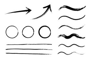 筆で書いた和風の素材セットのイラスト素材 [FYI04936621]