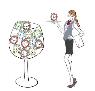 時間管理をする女性のイラストのイラスト素材 [FYI04936914]