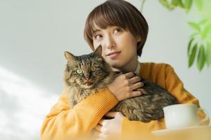 猫とくつろぐ女性の写真素材 [FYI04936947]