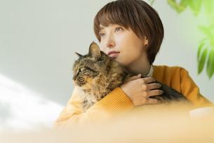 猫とくつろぐ女性の写真素材 [FYI04936949]