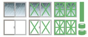 飛散防止 養生テープ 窓ガラスのイラスト素材 [FYI04938884]