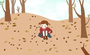 どんぐりが落ちている広場でどんぐり拾いをしている女の子。のイラスト素材 [FYI04938924]