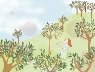 森の中にいる女性。のイラスト素材 [FYI04938929]