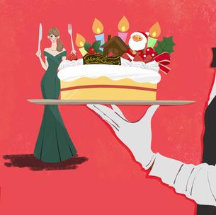 フォークとナイフでクリスマスケーキを食べるドレス姿の女性のイラストのイラスト素材 [FYI04938971]