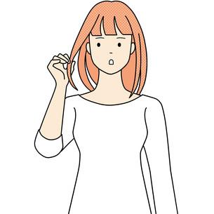 髪を触りヘアチェックしている女性のイラスト素材 [FYI04939050]