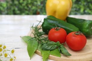 まな板にのせた様々な野菜とハーブの写真素材 [FYI04939627]