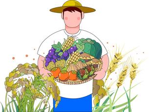 秋の収穫,稲や麦,果物,野菜を持っている農夫のイラスト素材 [FYI04939730]