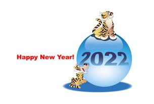 年賀状テンプレート,虎と水晶玉と英文挨拶のイラストのイラスト素材 [FYI04939779]