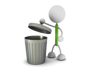 ゴミ箱と棒人間のイラスト素材 [FYI04940366]