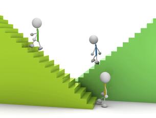 階段を昇り降りする棒人間のイラスト素材 [FYI04940370]