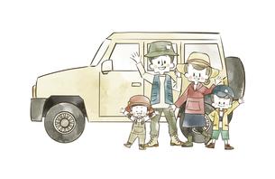 アウトドアウェアの家族と車のイラスト素材 [FYI04940404]