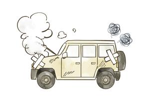 故障している自動車-SUVのイラスト素材 [FYI04940408]